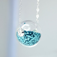 Teal glitter hand blown glass ball sterling silver by thestudio8