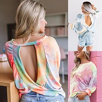 2020 autumn and winter new women's gradient color long-sleeved tie-dye top