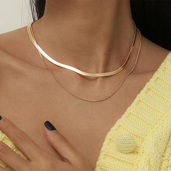 Multi Layer Vintage Snake Clavicle Chain Choker Necklace Steampunk Jewelry Metal Simple Gold Color Collares Necklace