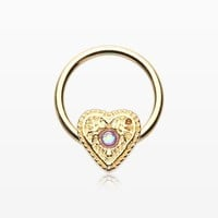 zzz-Golden Opalescent Sparkle Heart Captive Bead Ring
