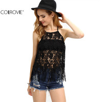 COLROVE Women Sexy Cami Tops Summer Style 2016 Black Slit Back Fringe  Hollow Out Spaghetti Strap Lace Camisole