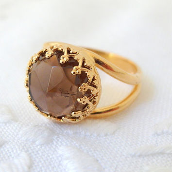 Smokey Quartz ring, 14k Gold ring, Birthstone ring, Vintage ring, cocktail ring, round gemstone ring, brown stone gold ring, bridal jewelry