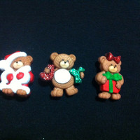 Xristmas Teddy Bears Plastic Buttons/ Sewing supplies / DIY supplies / Novelty Buttons / Party Supplies /Christmas craft supplies