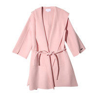 Hooded Belted Coat (Pink) | STYLENANDA