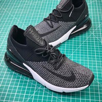 Nike Air 270 Flyknit Black Grey White Ah8050 0039 Sport Running Shoes - Best Online Sale