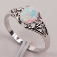 White Fire Opal 925 Sterling Silver Fashion Jewelry Ring Size 5 6 7 8 9 10 11 (With Thanksgiving&Christmas Gift Box)= 1932613060