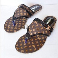 LV Louis Vuitton Trending Women Casual Beach Home Flat Sandal Slippers Shoes Coffee I/A