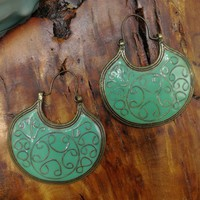 Vintage Boho Gypsy Tribal Celadon Green Enamel Dangle Earrings, Hippy Fashion India Jewelry