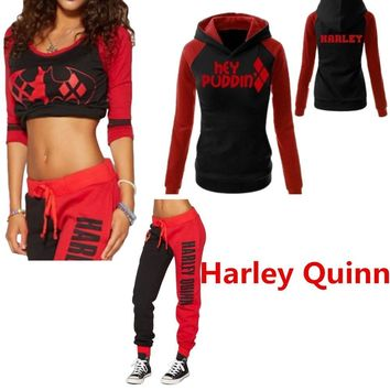 Cool Suicide Squad Harley Quinn Ladies Cosplay Costumes Hoodies Sweatshirts T-shirt Top Joggers Trousers Sport Gym Pants TracksuitAT_93_12