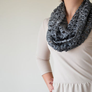 Grey, Broomstick Lace Crochet, Infinity Scarf, For Every Season, Knitted Crochet Accessories for Women, ReddApple Back To School