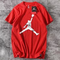 Jordan New fashion people print couple top t-shirt Red
