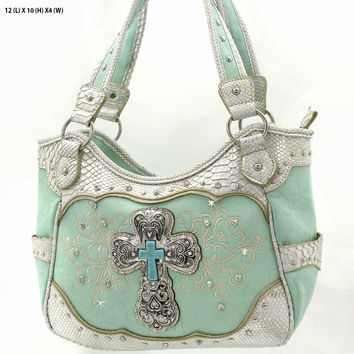 * RHINESTONE CROSS HANDBAG In Mint