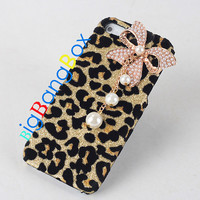 Glitter Leopard case with pearl bowknot,cheetah case for iphone 4 4s case,iphone 5 5c 5s case,bling samsung galaxy s4 s3 note 2 note 3 case