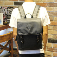 Men's Black 14 Inch Laptop Bag Leather Backpack Daypack Travel Bag