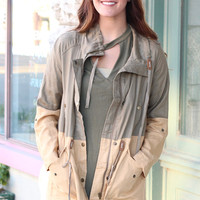 Double Take Color Block Utility Jacket {Olive+Khaki}