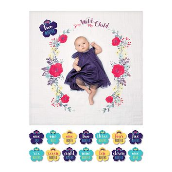 Stay Wild My Child Floral - Baby's First Year Milestone Swaddle & Cards