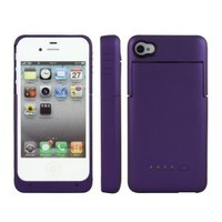 Greenery* BXT Colourful Slim External Rechargeable Backup Battery Charger Charging Case Cover for iPhone 4 4s (2000mAh) (2000mah Purple)