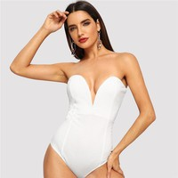 White Sweetheart Bustier Bodysuit Deep V Neck Sexy Casual Strapless Bodysuit Women Plain Elegant Bodysuits