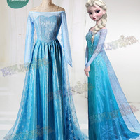 Frozen (Disney Movie) Cosplay Elsa Costume Outfit - fanplusfriend