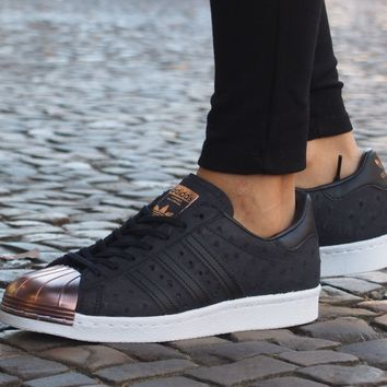 adidas Originals Womens Superstar 80s Metal Trainers Core Black all sizes