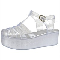 Womens Platform Sandals Jelly Adjustable Strap Casual Comfort Shoes Clear SZ 8.5