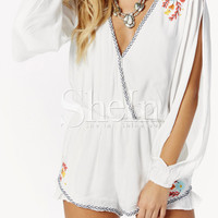 White Split Sleeve V Neck Embroidered Playsuit -SheIn(Sheinside)