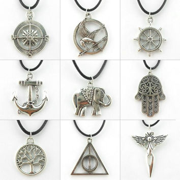 Vintage Hunger Games Hamsa Hand Anchor Moon Pendant Necklace