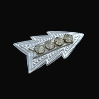 Art Deco Arrow Brooch Pin, With Clear Prong Set Rhinestones, In Silver Tone