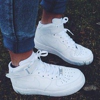 NIKE Women Men Running Sport Casual Shoes Sneakers Air force high tops and Low help shoes