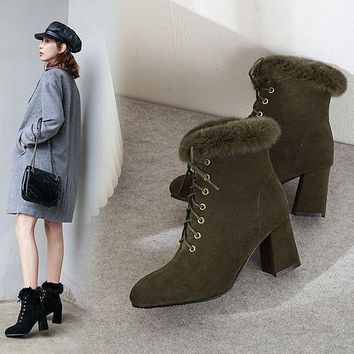 Round Toe Lace Up Furry Women's High Heeled Ankle Boots