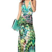 Peacock Madness Halter Maxi Dress @ Cicihot sexy dresses,sexy dress,prom dress,summer dress,spring dress,prom gowns,teens dresses,sexy party wear,ball dresses