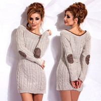 2016  Autumn Winter Long Sleeve Round Collar Women Knitted Dress Plus Size Contrast Colour Casual Sweater Dresses LX207