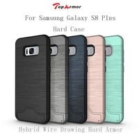 TopArmor Hybrid Wire Drawing Hard Armor Case Cover For Samsung Galaxy S8 Plus G9550 Stand Card Holder Mobile Phone Shell Fundas