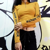 Winter Long Sleeve Alphabet Zippers Sexy Crop Top Slim Tops T-shirts [83148963855]