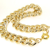 """Newest Shiny Cut LIGHT GOLD Plated Chunky Aluminium Curb Chain Necklace 18"""" 38"""""""