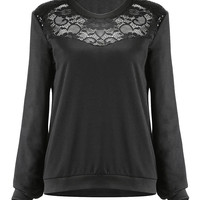 Black Lace and Sequin Sweatshirt