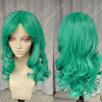 Sailor Moon Neptune COS wig New sexy Long Green Cosplay Curly Full wigs