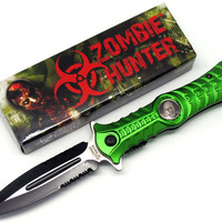 2 Knife Set = One Zombie Hunter Stiletto- Green and One Black