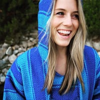 Mexican Threads Baja Hoodie - Drug Rug Hoodie Pullover Sweatshirt New Zealand | Baja Jacket Surfer Poncho Turquoise Blue | Hippie Poncho