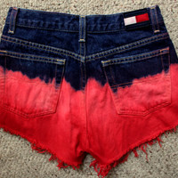 Pink and Red Ombre Highwaist Denim Shorts