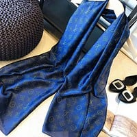 LV Louis Vuitton Hot Letter Popular Women Smooth Silk Scarf Scarves Shawl Blue I-TMWJ-XDH