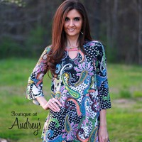Black Keyhole Top with Brightly-Colored Paisley Print and Hidden Side Pockets