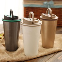500 ml Flip Up Handle thermos mug thermocup Portable Outdoor coffee cup travel thermal mug stainless steel Vacuum flask 3 colors