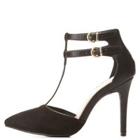 T-Strap Pointed Toe Heels by Charlotte Russe