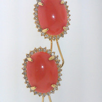 Ladies vintage 14K Yellow gold diamond and pink coral earrings with french backs and matching pink coral ring.