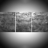 "View: triptych 3 panel wall art colorful images metallic ""SIlver triptych"" antique effect 3 panel canvas wall abstract canvas pop abstraction 48 x 20 "" other sizes available 