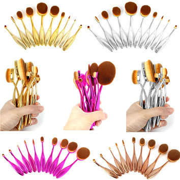 Electroplating 10pcs Oval Toothbrush Makeup Brushes Set MULTIPURPOSE Professional Foundation Powder Pincel Maquiagem Kits w/ Box
