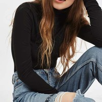 MOTO Chinese Symbol Embroidered Mom Jeans