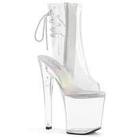 """Xtreme 1018 Clear Open Toe Platform Ankle Boot 8"""" High Heel Pre Order"""