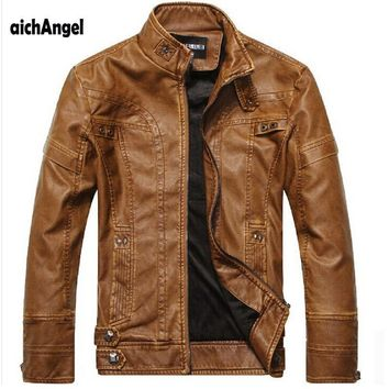 Motorcycle Wear Leather Jacket For Men / Leather Clothing For Men